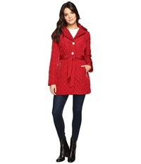Michael Michael Kors Missy Long Belted Quilt M422034t Cinnabar Women's Coat Red