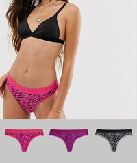 Brave Soul 3 Pack Waistband Thongs Multi