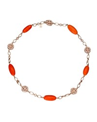 Margot Mckinney Jewelry Coral And Diamond Station Bracelet In 18K Rose Gold
