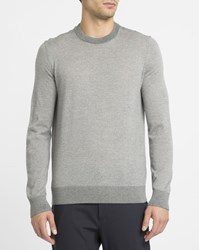 Theory Mottled Red Rothley Merino Contrasting Round Neck Sweater