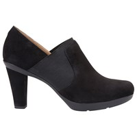 Geox Inspiration High Cone Heel Shoe Boots Black Suede