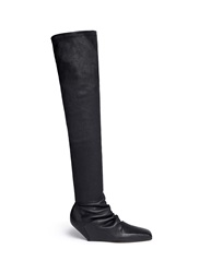 Rick Owens Square Toe Stretch Leather Thigh Hihg Boots Black