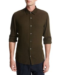 Vince Viscose Wool Button Front Shirt Olive