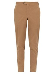 Thom Sweeney Tailored Cotton Twill Slim Leg Trousers Brown