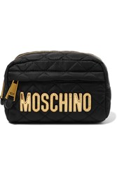 Moschino Metallic Faux Leather Trimmed Quilted Shell Cosmetics Case Black