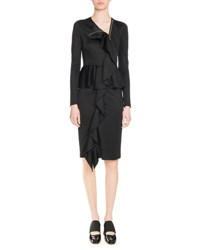 Givenchy Shiny Jersey Ruffle Front Dress Black