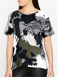 Just Cavalli Eagle Print Camouflage T Shirt Grey