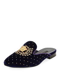 Versace Icon Medusa Velvet Loafer Mule Flat Purple