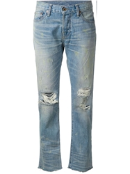 Nsf Distressed Cropped Jeans Blue