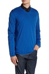 Zadig And Voltaire Ginger Long Sleeve V Neck Pullover Blue