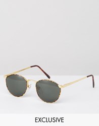 Reclaimed Vintage Inspired Round Sunglasses In Black Gold