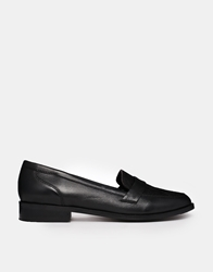 Park Lane Leather Flat Loafers Black