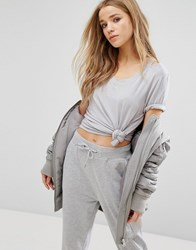 New Look Side Knot Front V Neck T Shirt Mid Grey