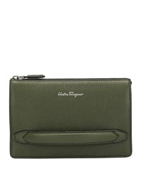 Salvatore Ferragamo Firenze Leather Pouch With Handle Green