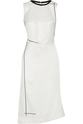 Reed Krakoff Leather Trimmed Asymmetric Stretch Silk Twill Dress