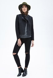 Forever 21 Wool Blend And Faux Leather Jacket Charcoal Black
