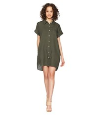 Allen Allen Short Sleeve Button Front Dress Ciantro Green