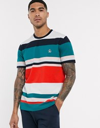 Original Penguin Badge Logo Engineered Stripe T Shirt In Multi