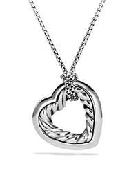 David Yurman Cable Heart Medium Pendant With Gold On Chain Silver Yellow Gold