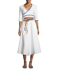 Rosie Assoulin Rainbow Piped Wrap Dress White