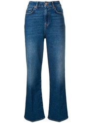 7 For All Mankind Flared High Waisted Jeans Blue