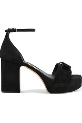 Salvatore Ferragamo Eclipse Bow Embellished Suede Platform Sandals Black