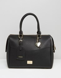 Marc B Classic Structured Bowler Tote Bag Black