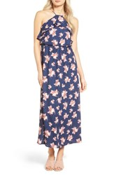 Lush Women's Ruffle Maxi Dress Navy Floral