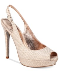 Adrianna Papell Rita Slingback Evening Pumps Women's Shoes Nude