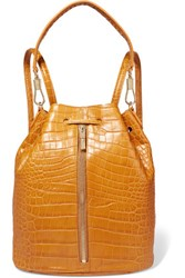 Elizabeth And James Cynnie Sling Convertible Croc Effect Leather Backpack Tan