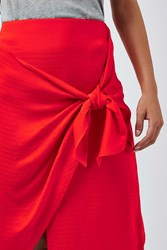 Boutique Jacquard Tie Front Skirt By Red