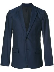 Ami Alexandre Mattiussi Two Buttons Lined Jacket Blue