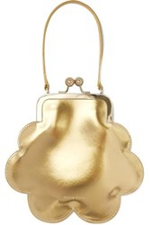 Simone Rocha Flower Metallic Patent Leather Tote Gold