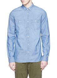 Denham Jeans 'Edge' Cotton Chambray Shirt Blue