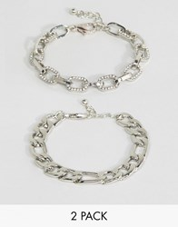 Asos Pack Of 2 Crystal And Curb Chain Bracelets Rhodium Silver