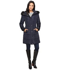 Jessica Simpson Long Puffer W Waist Detail Hood And Faux Fur Navy Women's Coat