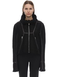 Rick Owens High Collar Shearling Jacket Black