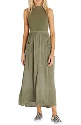 Billabong Women's Honey High Waist Maxi Skirt Seagrass Olive