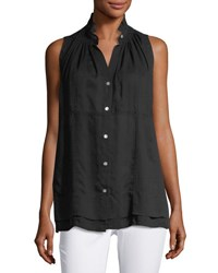 Chelsea And Theodore Ruffled Collar Button Front Blouse Black