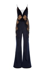 Jonathan Simkhai Lace Up Velvet Jumpsuit Navy