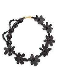 Simone Rocha Crystal Bead And Floral Necklace Black