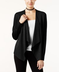Inc International Concepts Petite Faux Moleskin Draped Cardigan Only At Macy's Deep Black