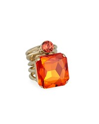 Dries Van Noten Jeweled Golden Wrap Ring Orange
