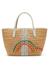 Anya Hindmarch The Neeson Medium Straw Basket Bag White Multi