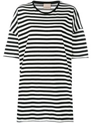 Laneus Striped Oversized T Shirt Black