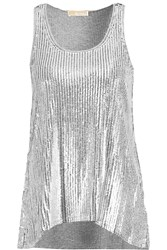 Michael Michael Kors Sequined Cotton And Modal Blend Tank Gray