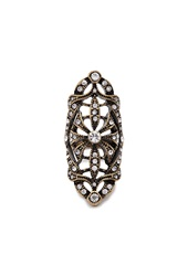 Forever 21 Filigree Rhinestone Cocktail Ring Antic Gold Clear