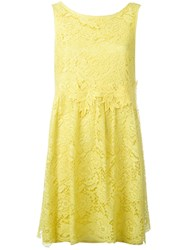 P.A.R.O.S.H. Lace Flared Dress Yellow Orange