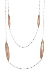 Roberto Coin 18K Rose Gold Plated Sterling Silver Diamond Cut Station Chain Necklace Metallic