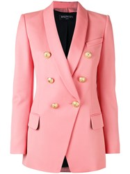 Balmain Double Breasted Blazer Women Cotton Viscose Wool 38 Pink Purple